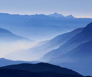 morning mountains in mist